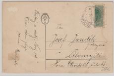 Österreich, ca. 1900, Halbierung von Sloupnice nach Litomysli, auf Postkarte