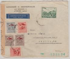 Griechenland, ca. 1940 interessante MiF vorder- und rückseitg auf Zensurbrief nach Berlin