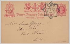 GB, 1890, Peny- Postage Jubileums- GS, gelaufen, dekorativ