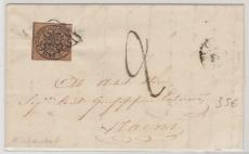 Italienisch Staaten, Kirchenstaat, 1863, 3 Bajone Einzelfrankatur