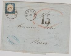 Italienische Staaten, 1862, Sardinien Mi. Nr.: 8b als EF nach Wien