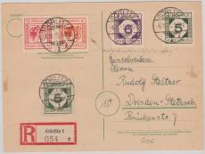 Görlitz Nr. 1, + 5- 12Pfg. in MiF auf E.- Karte