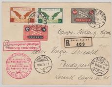 Schweiz, 1935, Flugpost, 1. Winterluftpost in den Bündneralpen, nette Lupo- MiF auf E.- Brief nach Budapest