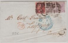 GB, ca. 1865, interessante und schöne MiF nach Leipzig