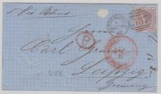 GB,1862, interessante und schöne EF nach Leipzig