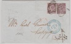 GB, 1867, interessante und schöne MeF nach Leipzig