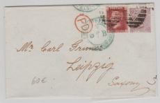 GB, 1868, interessante und schöne MiF nach Leipzig