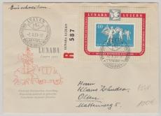 Schweiz, 1951, Lunaba Block auf FDC, gelaufen!