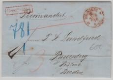 F- Stempel Bromberg, Bromberg, 1878, auf Einschreiben- Fernbrief von Bromberg nach Rauenberg (?) / Baden