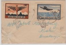 Polen, 1921, Brief mit Flugpostvignetten Posen 1921, anscheinend gelaufen