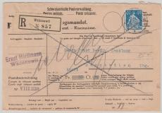 Schweiz, 1923, 40 Rp. sitzende Helvetia als E.- NN- Brief von Wädenswil nach Münchwilen, dort nicht eingelöst