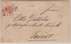 Österreich, Österreichische Post in Italien, 1857, 15 Centes (?) EF von Udine nach Triest