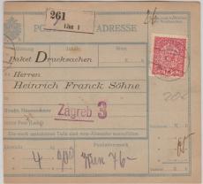 Österreich, 1910, Paketkarte für Drucksachen in EF, von Linz nach Zagreb