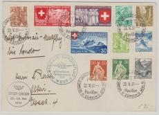 Schweiz, 1939, schöner Lupo- Brief von Zürich nach GB, via Swissair- Europaflug West, der Schweizer Landesausst.