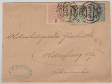 Portugal, 1899, nette MiF auf GS- Umschlag von Oporto nach Oldenburg