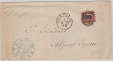 Italien, 1880, 10 Lire Innendienst (?) - Frankatur als EF von Bergamo nach Alzano Sopra