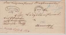 Württemberg (?), 1873, unfrankierter Auslagenbrief von Zell a. Harmersbach nach ...