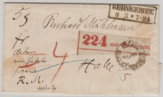 Unfrankierter Paketbegleitbrief von Wernigerode nach Halle