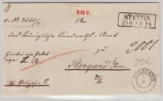 Preussen, ca. 1860, Unfrankierter Paketbegleitbrief von Stettin nach Stargard