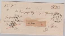 Preussen, ca. 1860, Unfrankierter Paketbegleitbrief von Meseritz nach Posen