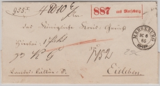 Sachsen, ca. 1865, Unfrankierter Paketbegleitbrief von Merseburg nach Eisleben