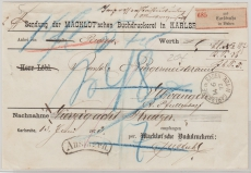 Baden, 1872, Unfrankierter Auslagen- Wert- Paketbegleitbrief- Vorderseite von Carlsruhe nach Elwangen (?)