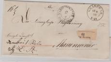 Preussen,1868, Paketbegleitbrief von Graudenz nach Marienwerder