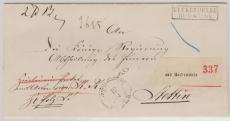 Preussen, ca. 1870, Paketbegleitbrief von Ueckermünde nach Stettin