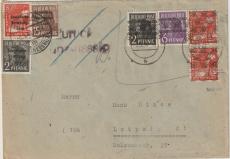 Berlin, 1948, Mi.- Nr.: SBZ 182, 184 + 187 + Bizone 2, 6 + 8 Pfg. (Band/Netz), als MiF auf Fernbrief von Berlin nach Leipzig