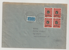 Berlin / BRD, (1949) 1951, Mi.- Nr.: 64 (4x), als MeF auf Fernbrief von Lorch nach Backnang