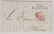 Hamburg, ca. 1800, Brief nach Bordeux, mit interessantem Abgangs- und Transitstempel!
