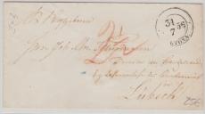 Altona, ca. 1830, Brief nach Lübeck, mit interessantem Abgangs- und Transitstempel (rs., vermutlich dänische Post)!