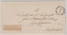 Schwarzburg, 1880, Dienstbrief (mit Dienstaufkleber, frei laut Avers No. 7), von Oberweisbach nach Rudolstadt