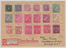 MiF der ersten Ausgabe von Schwerin (dabei auch div. Farben!) nach Magdeburg, per E.-Brief
