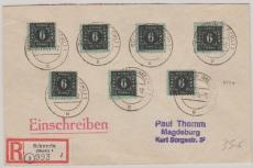 MeF der Nr. 8 von Schwerin (Versandstelle für Sammlermarken) nach Magdeburg, per E.-Brief