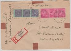 11 xa u.a. in MiF auf E.- Brief von Rostock nach Pirna, tiefstgeprüft Kramp
