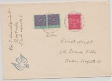 10x (2x) + 19x in MiF auf Brief von Rostock nach Pirna, tiefstgeprüft Kramp