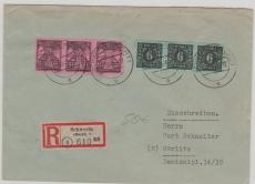 8 (3x) + 16 (3x) als E.- Brief MiF von Schwerin nach Görlitz