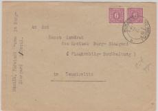 9 b als MeF auf Brief von Burg- Stargard nach Neustrelitz, tiefgepr. Kramp BPP