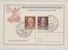 Berlin, 1953, Mi.- Nr.: 91 + 93, auf Karte zur Gr. Rationalisierungs- Ausstellung, abgestempelt in Düsseldorf, ungelaufen