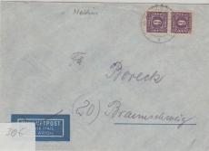 9c, MeF auf Brief von Malchin nach Braunschweig, geprüft Kramp BPP