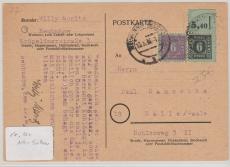 8 + 10 in MiF auf Postkarte von Neubukow nach Halle, tiefstgeprüft Kramp BPP