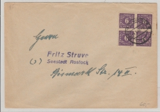 9c (4x) als reine MeF auf Ortsbrief in Rostock, Brief rs. Mittig geprüft Kramp BPP