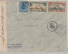 Ägypten, 1939, Länder MiF auf Brief von Cairo nach Brünn, mit 2 facher Zensur und Tschechischer Nachportomarke