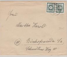 43 BIIb, als MiF auf Brief von Kamenz nach Bischofswerder