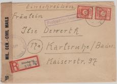 60 (2x), + Teilbarfrankatur auf E.- Brief von Dresden nach Karlsruhe, mit Zensur