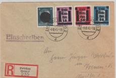 Glauchau Nr.: 5, 6 + 10 in MiF mit Sächs. Schwärzung auf E.- Brief