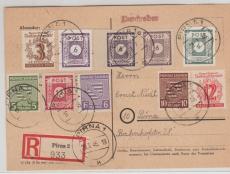 58 cU, u.a. auf E.- Ortskarte innerhalb Pirnas, Marken rs. gepr. Kunz BPP