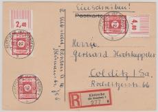 46 Fa (3x) als MeF auf eingeschriebener Fern- Postkarte von Klotsche nach Colditz, Marken rs. geprüft Dr. Jasch BPP