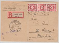 46A (3x) als reine MeF auf eingeschriebene Fernpostkarte von Dreden nach Berlin! Gute Portostufe!!!!